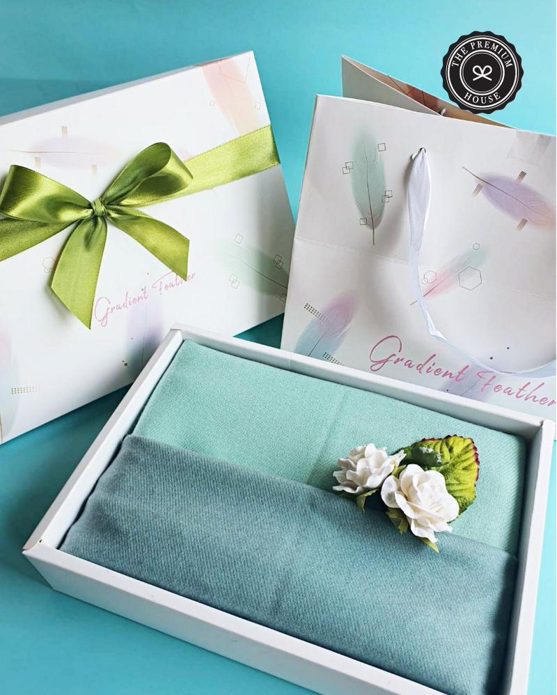 ผ้าแคชเมียร์ 2 โทน   ในกล่อง + ถุงFloral 6x9 นิ้ว