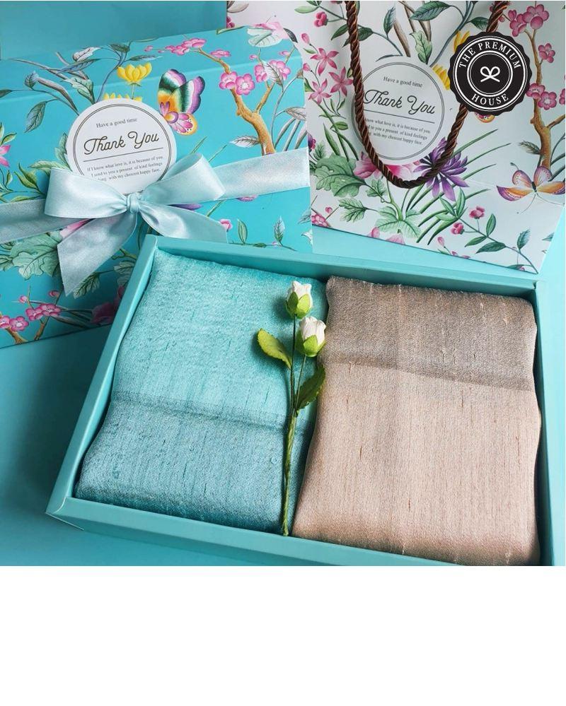 ผ้าไหมมุกหรือผ้าไหม 2 สี + ถุงผ้าหูรูด  กล่อง + ถุงFloral 6x9 นิ้ว