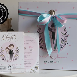 กล่องใส่เงินวัสดุไม้พร้อมตัวล็อค+สมุด 2 เล่ม ลายการ์ดแต่งงาน
