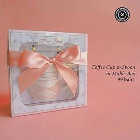 Coffee Cup and Spoon in Mable ของรับไหว้ ของพรีเมี่ยม ของชำร่วย