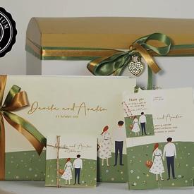 กล่องหีบไม้+สมุด 2 เล่ม ลายการ์ดแต่งงาน