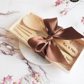 ช้อนส้อมไม้ ไซส์เล็ก ของชำร่วย ของชำร่วยงานเเต่งงาน ของพรีเมียม